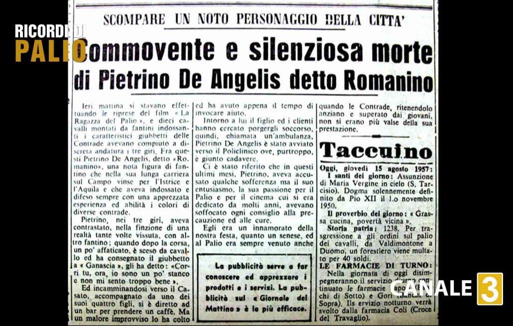 """Notizia della morte di Pietrino il 14 agosto 1957 in Piazza del Campo durante le riprese del film """"La ragazza del Palio"""""""