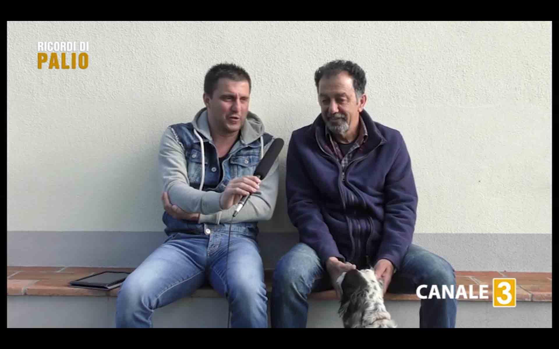Massimo Alessandri detto Bazzino, grande fantino del Palio di Siena, insieme a Michele Fiorini, durante l'intervista
