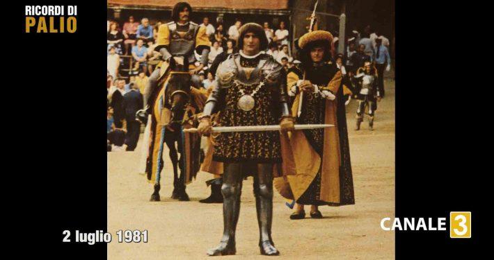 Bastiano durante la Passeggiata Storica del Palio del 2 luglio 1981 vinto dalla Nobile Contrada dell'Aquila