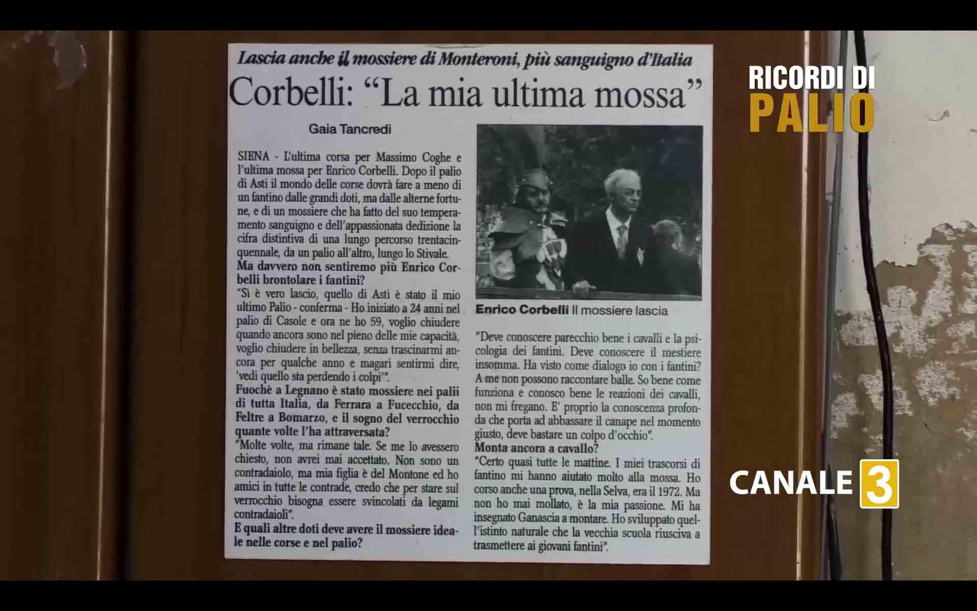 Enrico Corbelli mossiere per 35 anni