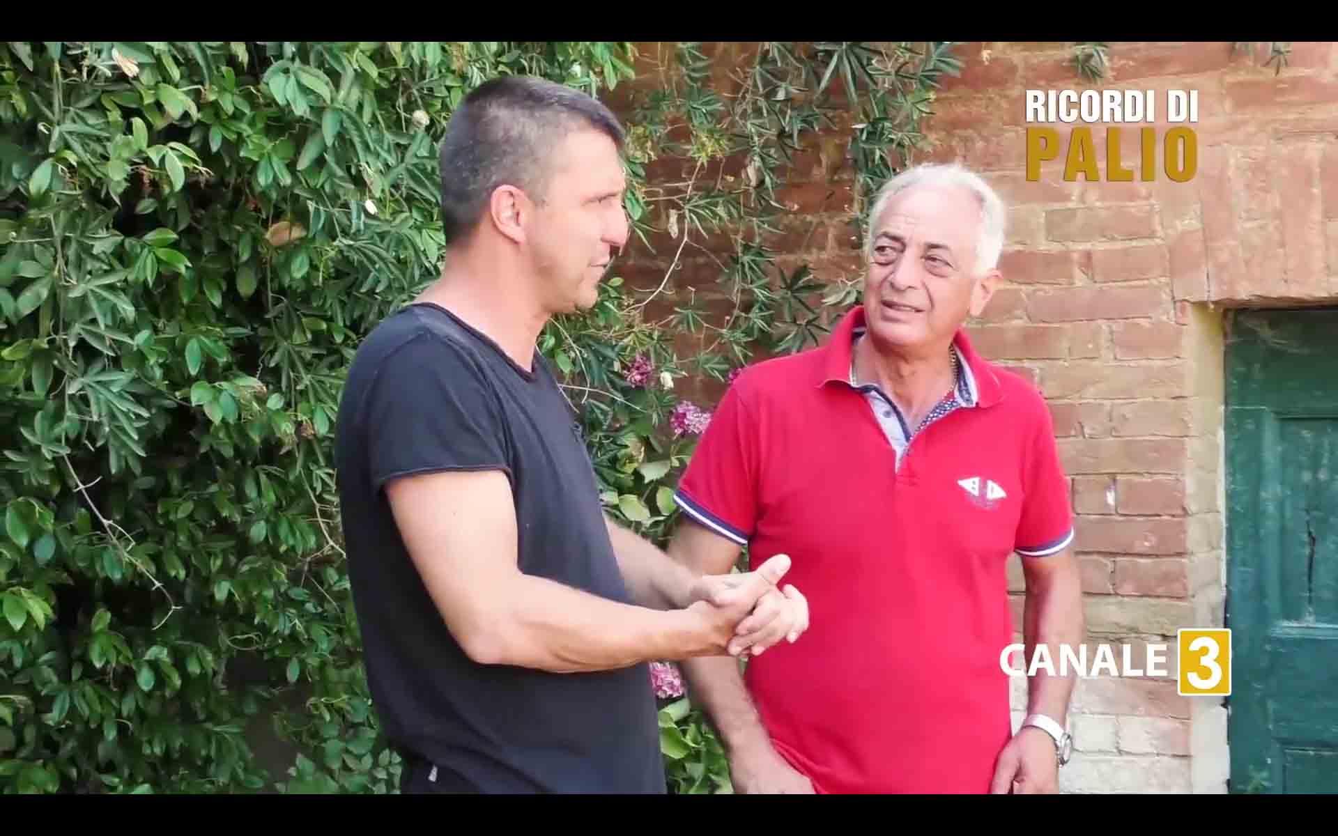 Michele Fiorni ed Enrico Corbelli durante le riprese di Ricordi di Palio