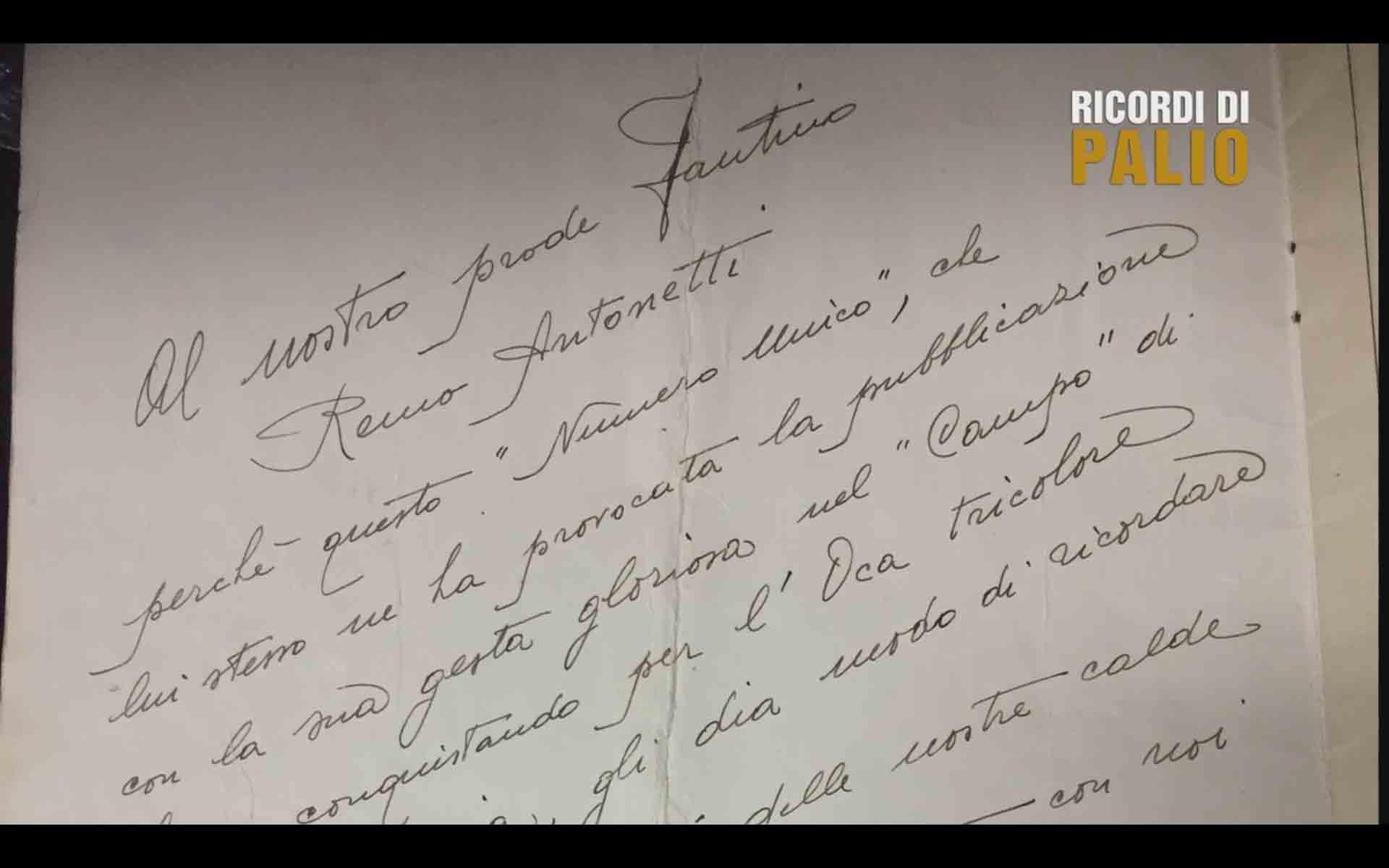 Dedica della Nobile Contrada dell'Oca a Remo Antonetti detto Rompighiaccio dopo la Vittoria del Palio del 16 agosto 1952