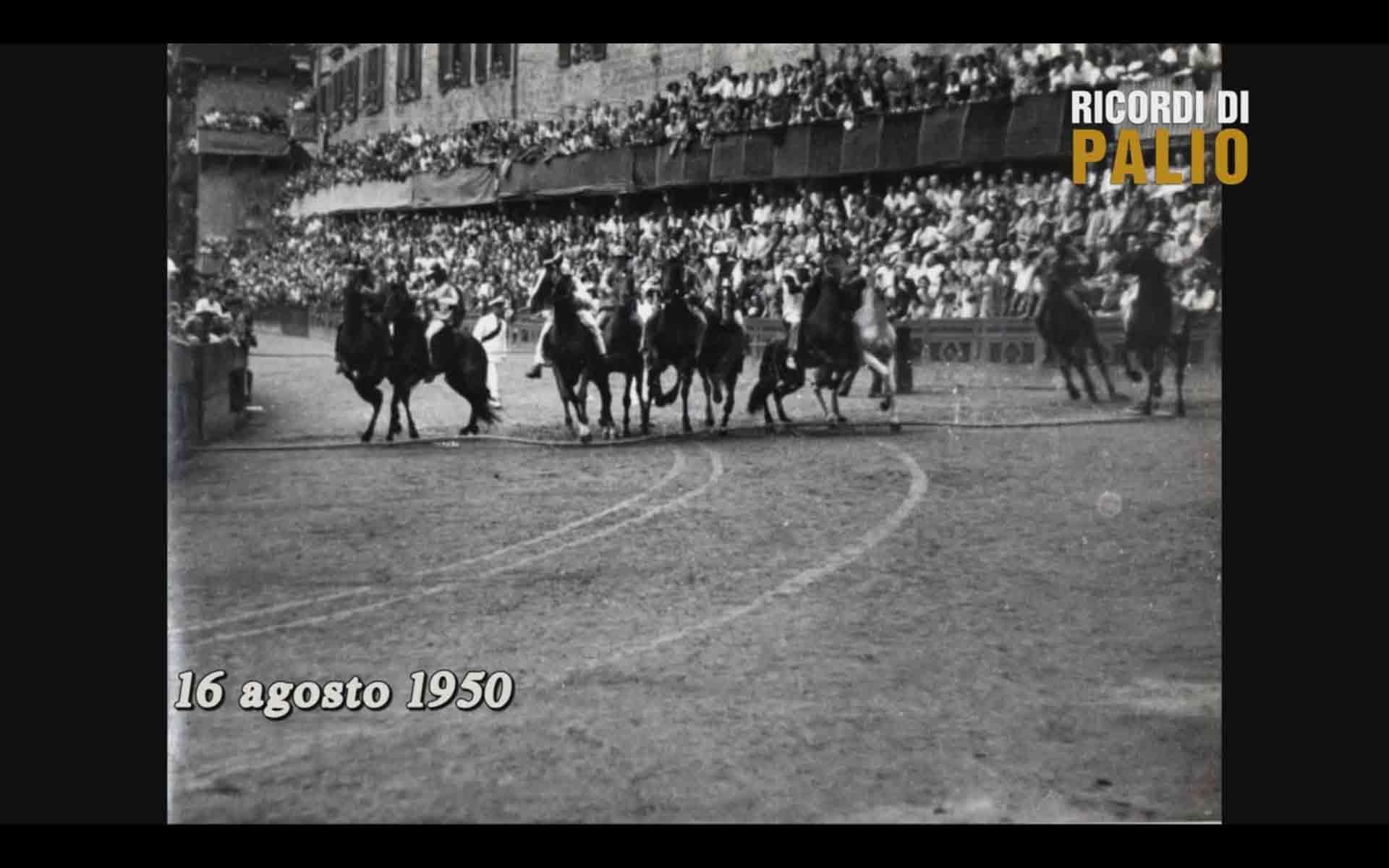 La Mossa del Palio di Siena del 16 agosto 1950, vinto dalla Contrada del Leocorno con Rompighiaccio e Niduzza