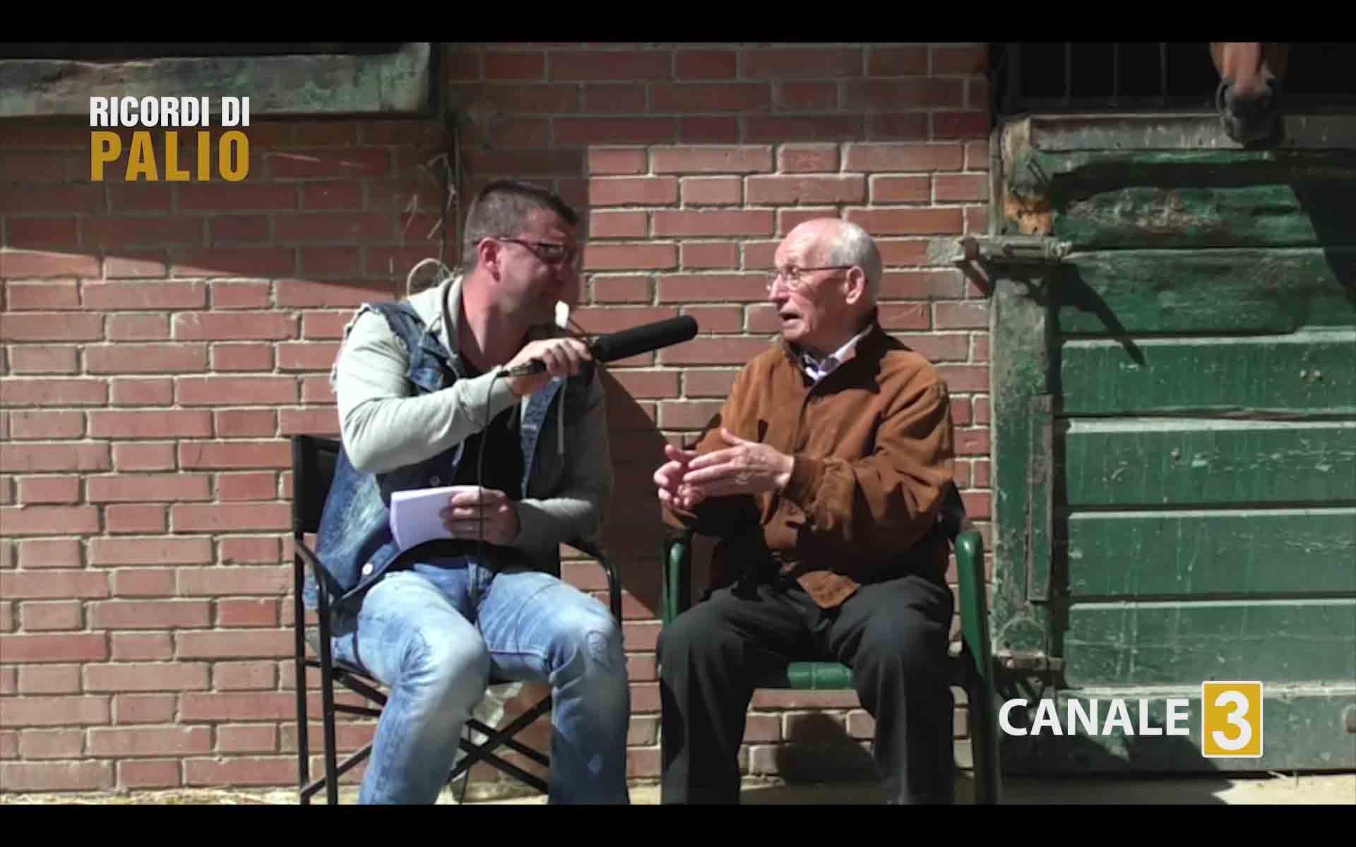 Saro Pecoraro detto Tristezza nel corso dell'intervista realizzata nel 2017 da Michele Fiorini a celebrazione del 50° anniversario del Palio Straordinario 1967