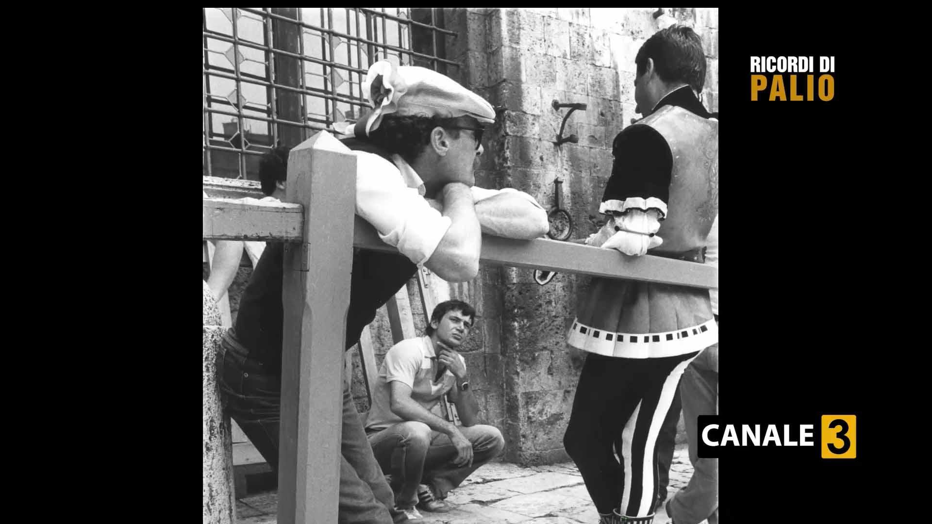 Luciano Chiti alla Tratta del Palio del 3 luglio 1983