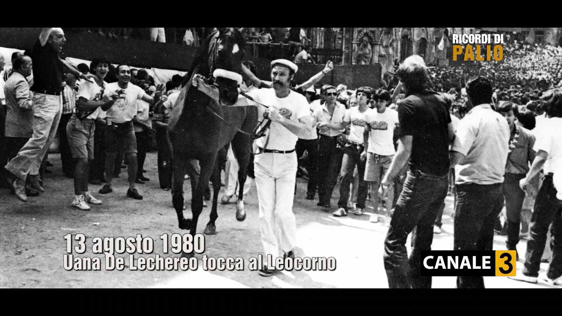 Uana de Lechereo e Luciano Chiti alla Tratta del Palio Vittorioso per la Contrada del Leocorno